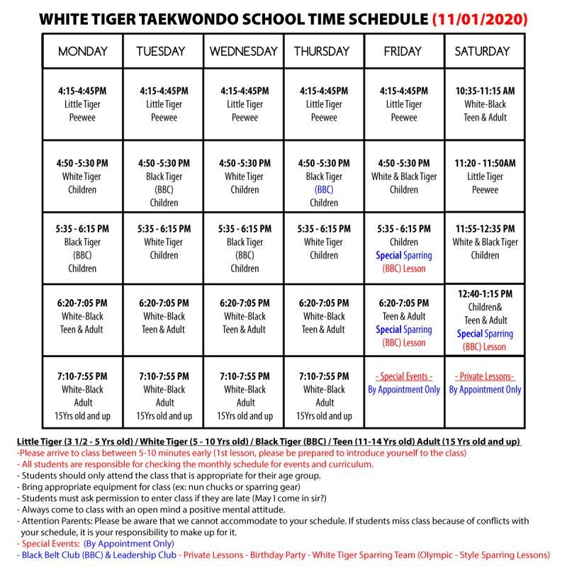 WHITE-TIGER-TAEKWONDO-SCHOOL-TIME-SCHEDULE