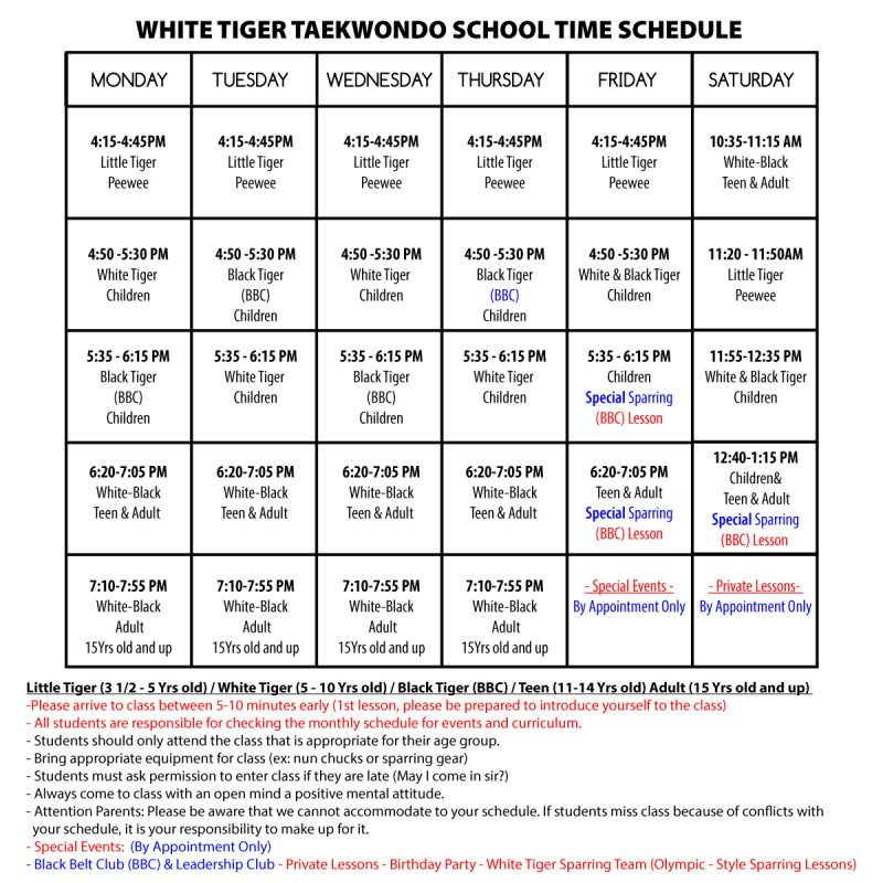 WHITE-TIGER-TAEKWONDO-SCHOOL-TIME-SCHEDULE